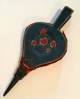 Antique 19th C Folk Art Painted Floral Fireplace Bellows Original