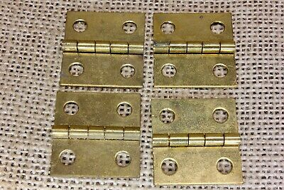 "4 small Old Cabinet door hinges shutter NOS solid brass 1 x 1 1/16"" jewelry box"