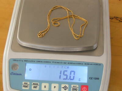 """Pure 24K Solid Gold Necklace .9999 Signed  15 Grams 25"""" Length Scrap or Not"""