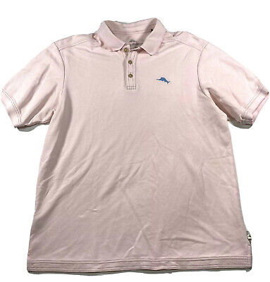 Exc Cond Tommy Bahama Mens M Pink Marlin Supima Cotton Polo Shirt