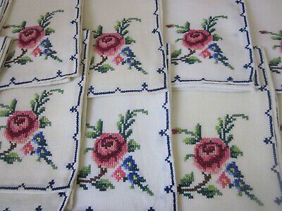 12 Vintage Large Table Napkins With Pink Roses Cross Stitch Embroidery