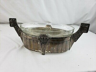 "Superb antique French Art Nouveau handled metal serving dish ca. 1920s 13"" marks"