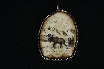 """Outstanding native american carving,sterling casing, signed 2"""" [Y9-W6-A9]"""