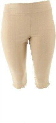 Wicked Women Control Petite Pedal Pusher Side Slits Desert Sand PL NEW A352759