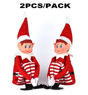 "2 Red Naughty Elf Elves Behavin Badly On The Shelf A Boy 12"" Prop Doll Christmas"