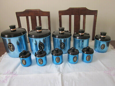 Full Set Retro Jason Model Maid Electric Blue Anodised Canisters & Spices