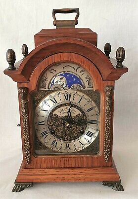 Hermle Mantel Clock Shelf Oak Moon Dial 8 Day Wind Up Vintage 1981 Double Bells