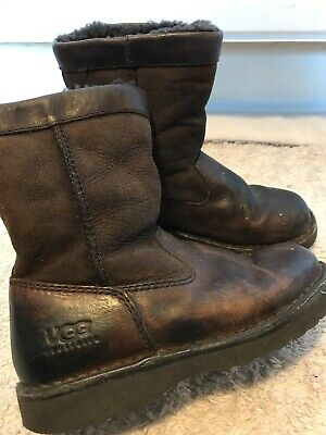 Girls UGG Brown Leather Boots Size 12