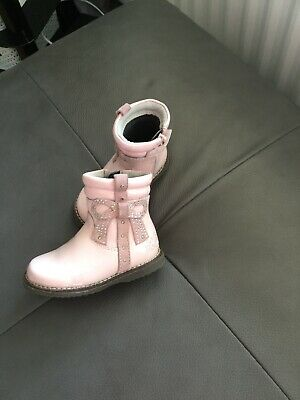 Lelli Kelly Little Girls Boots -Pink, Bow Patent & Suede Infant Size 20 Side Zip