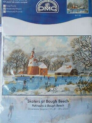 """Cross stitch Kit """" Skaters at Bough Beech """" New by DMC"""