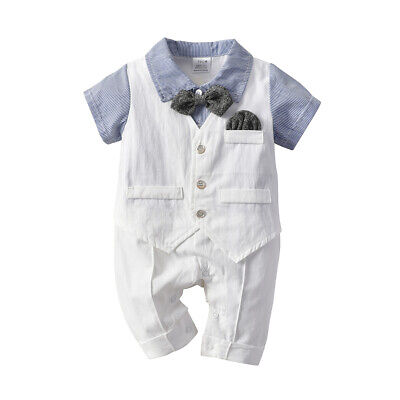 Newborn Baby Infant Gentleman Boy Romper Jumpsuit Bodysuit Outfits Clothes