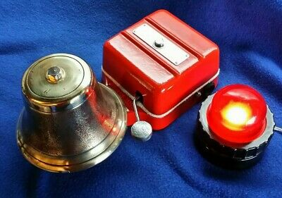Vintage Industrial Gent Electric Door Fire Alarm Butler Bell & Bakelite Lamp