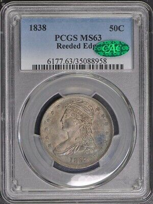 1838 50C Reeded Edge Capped Bust Half Dollar PCGS MS63 (CAC)