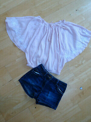 NEXT girls 2 piece clothes bundle jeans shorts pink top AGE 7 YEARS EXCELLENT