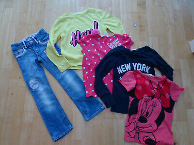 H&M girls 5 piece spring clothes bundle jeans jumper t shirt AGE 6 - 7 YEARS