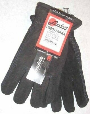 Lambert 44TH Black Suede Pig Leather Gloves 3M Thinsulate Lined Medium