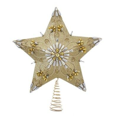 5 Point Gold And Silver Star Tree Topper S4382 13.5 Inch New
