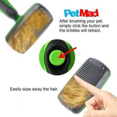 Pet Dog Cat Slicker Grooming Brush Self Cleaning For Medium And Long Haired Pets