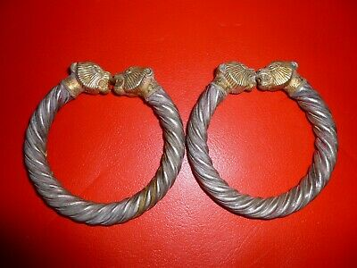 Pair Of Late Roman-Byzantine Silver/Gilt Panther Head Bangles