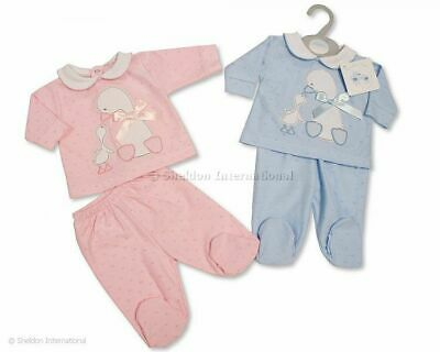 Spanish Style Baby Boy Girl 2 Piece Set with Bow - Duck - (NB, 0-3, 3-6m)