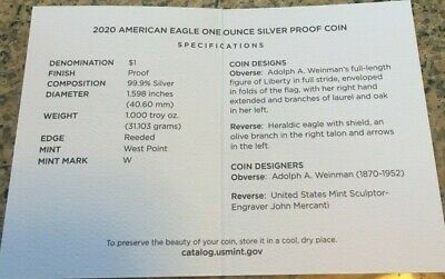 2020 W Proof Silver American Eagle $1 Coin PCGS PR70DCAM FUN SHOW FIRST STRIKE