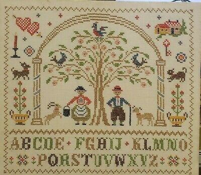 "Vintage Alphabet Cross Stitch Needlepoint 18"" x 16"" Finished Piece"