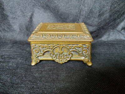 Antique Victorian Footed Brass Matchbox Match Box With Striker