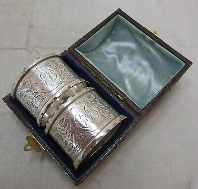 Cased pair antique Victorian Sterling silver napkin rings, 1888, 51 grams