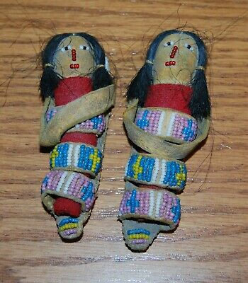 (2)-Northern Plains Indian Native American beaded dolls in Cradles