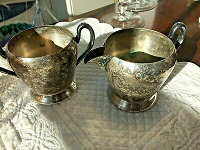 ACADEMY 116 Silver on Copper CREAMER Pitcher & SUGAR BOWL Art Deco Holiday Table