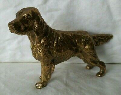Vintage Brass Irish Setter Dog Figurine Statue Paperweight Decor