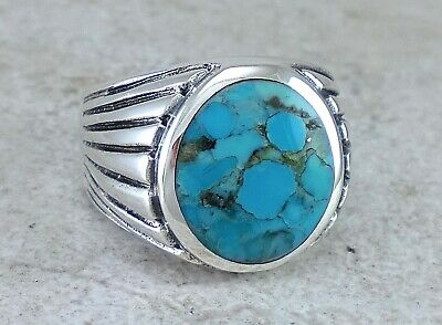 LARGE MENS 925 STERLING SILVER TURQUOISE RING size 10 style# r2670