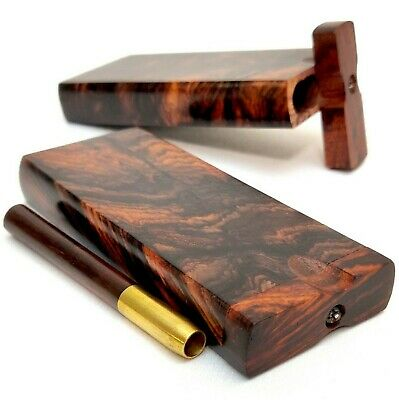 Aged Rosewood 4 Inch Dugout Stash Box w/ Brass & Wood One Hitter Bat +4 Screens