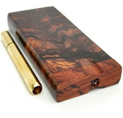 "Aged Rosewood 4 Inch Dugout Stash Box + 3"" Solid Brass One Hitter Bat, 4 Screens"