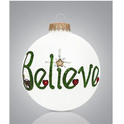 BELIEVE Glass Ball Christmas Tree Ornament Made in USA New