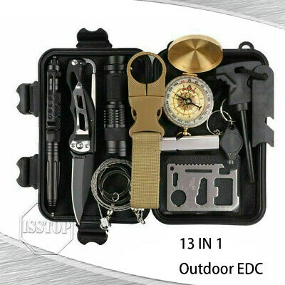 13 in 1 Outdoor Survival Gear Kit Camping Tactical Tools Emergency SOS EDC Case
