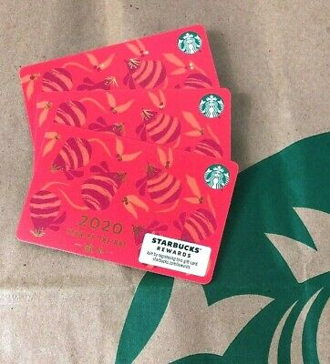 """2020 STARBUCKS """"YEAR OF THE RAT"""" GIFT CARD #6176 NO VALUE (3 cards) New"""