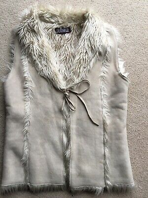 Used Ladies/Girls Fur Lined Suede Gilet -Size 12