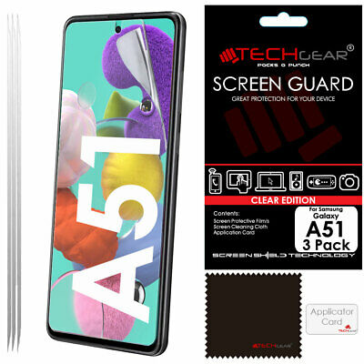 3 Pack of TECHGEAR CLEAR Screen Protector Covers For Samsung Galaxy A51