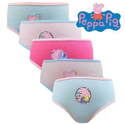 5 Pack Peppa Pig Official Branded Pants Girls  Cotton Knickers Age 4 - 5