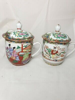 Antique pair of  Chinese hand painted & made Tea Cups/ mugs And Lids