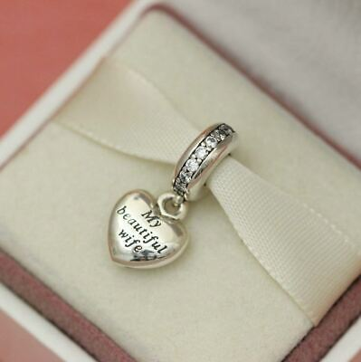 Genuine Authentic Pandora My Beautiful Wife Charm Sterling Silver Dangle ALE UK