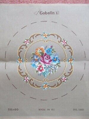 """Tapestry Canvas """" Floral """"  New by Gobelin 12"""" Diameter"""