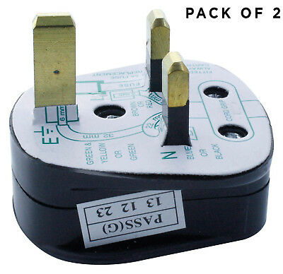 UK 3-Pn Mains Plug with 5A Built-In Fuse 5a Fused with Shrouded Pins - Pack of 2