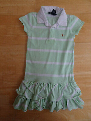 RALPH LAUREN girls green white stripe polo dress AGE 6 YEARS EXCELLENT COND