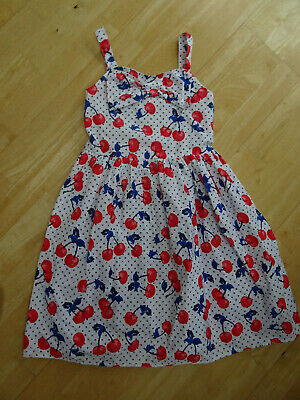BLUEZOO girls white cherry pattern summer sun dress AGE 9 YEARS EXCELLENT