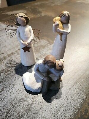 3 Willow Tree Figures - Angel Of Light /Angel of Friendship & Sister & Brother