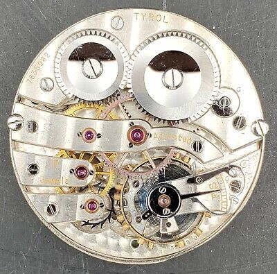 High Grade Tyrol 16s 17j Double Sunk Swiss Pocket Watch Movement #7635062 Runs