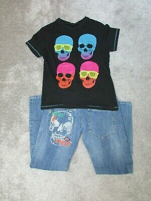 Next boys 12 years skull Tshirt top + skull jeans set - Excellent condition