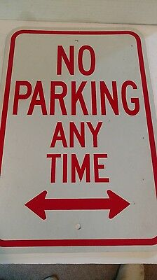 NO PARKING ANY TIME DOUBLE ARROW SIGN  12x18    PLASTIC